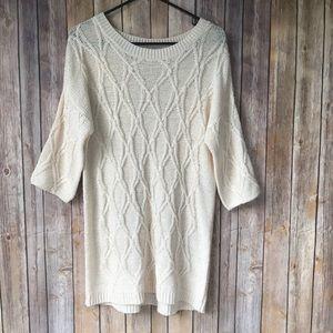 Zara Knit Off White Sweater Dress Size L